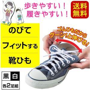 送料無料 伸びる靴ひも ゴム 2足セット(4本) 黒or白 日本製 伸びてフィットする靴紐(代金引換・他商品と同梱不可)|pet-square-cat
