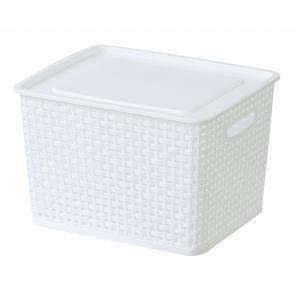 (東谷 AZUMAYA)アミー 収納ボックス フタ付き M ホワイト単品 おしゃれ/かご LFS-692WH(東谷商品以外と同梱不可)|pet-square-cat