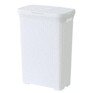 (東谷 AZUMAYA)アミー ランドリーボックス ランドリーバスケット ホワイト単品 おしゃれ/洗濯かご LFS-693WH(東谷商品以外と同梱不可)|pet-square-cat