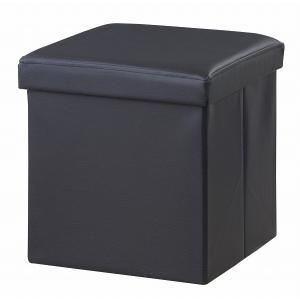 (東谷 AZUMAYA)ボックススツール 正方形 ブラック単品 椅子/収納ボックス/オットマン LFS-811BK(東谷商品以外と同梱不可)|pet-square-cat