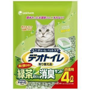 猫用品 1週間消臭・抗菌デオトイレ 飛散らない緑茶成分入り・消臭サンド 4L|pet-square
