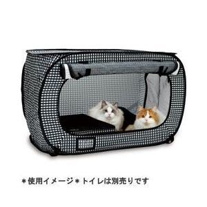 D-culture 猫用 ポータブル ケージ ブラック (ゲージ 折りたたみ ハウス)|pet-square