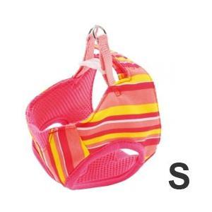 犬 ハーネス 胴輪 ペティオ アルファッション ストライプ ベストハーネス S ピンク 小型犬用 pet-square