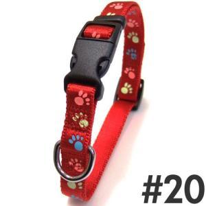 犬 首輪 岡野 蓄光フットカラー #20 中型犬用 レッド|pet-square