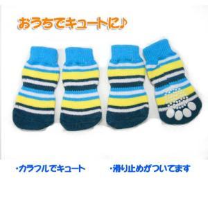 (EC)犬の靴下 ブルーストライプソックス(犬用靴下)(送料無料/代金引換不可/同梱不可)|pet-square