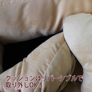 (EC)ペット用ベッド スクエアペットベッド ベージュ M 62x52cm 大きな骨のクッション付き(送料無料/代金引換不可/同梱不可)|pet-square|04