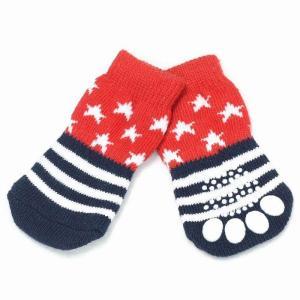 (EC)犬の靴下 ハギーバディーズ アメリカンスターソックス (犬用靴下 1足分4個セット)(送料無料/代金引換不可/同梱不可)|pet-square