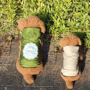 (EC)愛犬用 リバーシブル ダウンジャケット/アーミーグリーンxベージュ(S〜XLサイズ)犬/服/ダウン(送料無料/代金引換不可/同梱不可)|pet-square