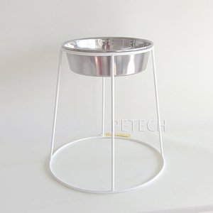 ★即日発送対象 【セット販売】ホワイト食器スタンドとステンレス食器皿型20cm|petech