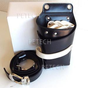 【送料無料】5丁用 合皮シザーポーチ TG-C18 ブラック ハードタイプケース|petech|03