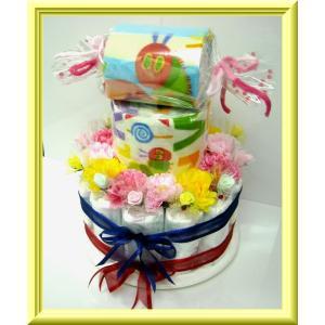 豪華な3段おむつケーキ、個別包装されたオムツをつかって、ラウンドケーキ風にアレンジされた、話題のオム...