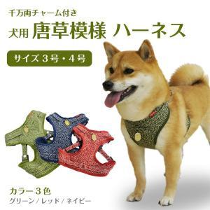 犬用 「千万両」チャーム付き唐草模様 ハーネス<単品><3号サイズ><4号サイズ>|petgp