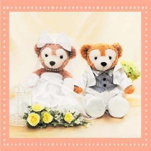 ダッフィー ウェディング 衣装 ペアセット ウエディング 結婚式 ウェルカムドール タキシード ホワイト|petit-colle