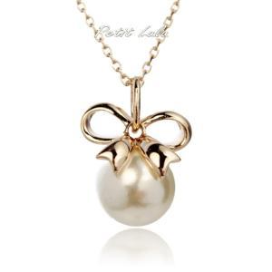 ネックレス レディース 真珠 リボン  大粒パール 一粒 18金RGP|petit-lulu