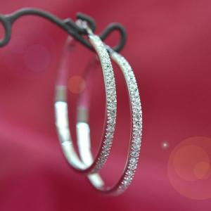 ピアス レディース ダイヤモンドCZ フープピアス フリンジ フープ 揺れる ダイヤモンドCZ 18K プラチナ RGP|petit-lulu