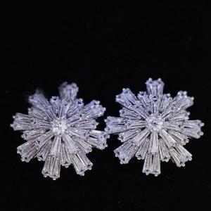 18K ピアス レディース 雪の結晶(大) AAA級 ダイヤモンドCZ  18金RGP|petit-lulu