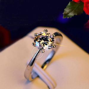 18K 指輪 レディース  華奢 リング 6本爪 一粒 ダイヤモンドCZ プラチナRGP|petit-lulu