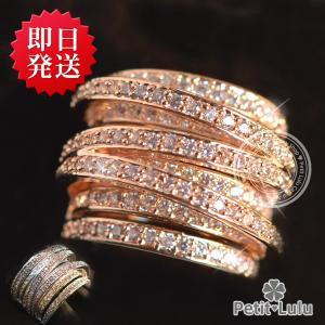 指輪 レディース リング 200石最高級スワロフスキー 光のシャワー クリスマス プレゼント ギフトエタニティリング 18K RGP アクセサリー ジュエリー