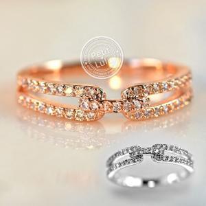 指輪 リング レディース ダイヤモンドCZ ヌーディ― 二連風 華奢 スキンジュエリー 18金RGP 2色展開|petit-lulu