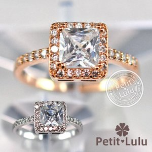 指輪 リング レディース ダイヤモンドCZ 大粒 プリンセスカット スクエア 18金RGP 2色展開 petit-lulu