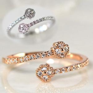 指輪 レディース リング ダイヤモンドCZ プチフラワー C型リング フォークリング フリーサイズ 18金RGP 2色展開|petit-lulu