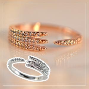 指輪 リング レディース ダイヤモンドCZ シャープ クロウ C型リング フォークリング 18金RGP 2色展開|petit-lulu