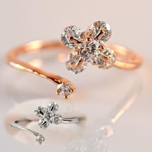 指輪 レディース リング ダイヤモンドCZ フラワー 4枚花...