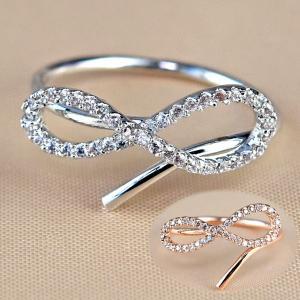 指輪 リング レディース ダイヤモンドCZ メビウスの輪 永遠の絆 18金RGP 2色展開|petit-lulu