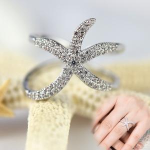 指輪 リング レディース ダイヤモンドCZ スターフィッシュ ヒトデ フリーサイズ 18金RGP|petit-lulu