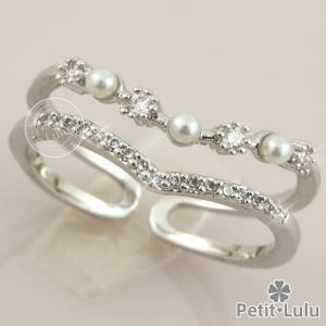 リング 指輪 レディース フリーサイズ 2連 パール 真珠 V字 Vライン エレガント k18 18...