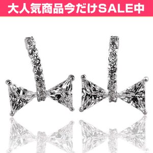 ピアス レディース ダイヤモンドCZ プラチナ仕上げ シルバー925 半フープ リボン 最高級スワロフスキー|petit-lulu