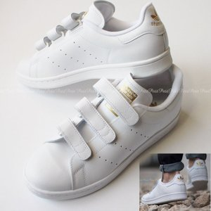 Adidas アディダス スタンスミス stan smith オールホワイト ゴールドロゴ ベルクロ S75188|petit-petit