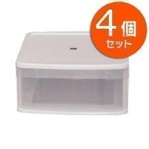 ワンセルフワイド WSサイズ アイリスオーヤマ クリアケース 1段 4個セット プラスチック チェスト 引き出し 収納ボックス|petkan