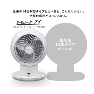 扇風機  サーキュレーター 18畳 ボール型左右首振り ホワイト サーキュレーターアイ 強力コンパクトサーキュレーター PCF-SC15 アイリスオーヤマ|petkan|09
