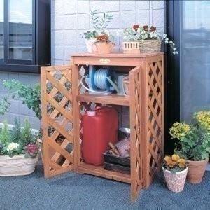 物置 収納庫 屋外 おしゃれ 木製ガーデンラック扉付き GOT-600 アイリスオーヤマ|petkan