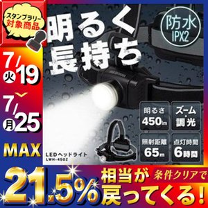 ヘッドライト LED  防水 ヘッドランプ 軽量 防犯 防災用品  明るい アウトドア キャンプ 450lm アイリスオーヤマ アイリスオーヤマの画像