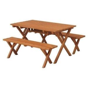 テーブルセット アウトドア 3点セット 木製 ガーデンテーブル BBQテーブルセット キャンプ コンロスペース付き 杉村 おしゃれ SD09-1032BR 81761|petkan