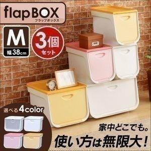 フラップボックス  収納ケース 収納ボックス 衣装ケース FLP-M 3個セット アイリスオーヤマ|petkan