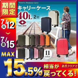 スーツケース 機内持ち込み可 40L キャリーバッグ キャリーケース 軽量 旅行カバン TSAロックKD-SCKの画像