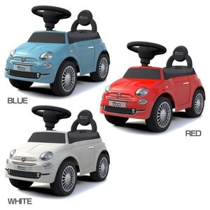 FIAT500ライセンス足けり乗用玩具です。 ハンドル、足けりによる運転操作。 お子さまやお孫さんへ...