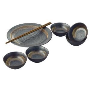 ◆たち吉 東山 取り鉢揃 (日本製)  【商品詳細】 ●内容:大皿(直径25.5×高さ3cm)、箸×...