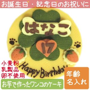 犬用ケーキ Lovina(ロビナ) 四葉のクローバー+名前ケーキ お誕生日に プレゼントに petnext