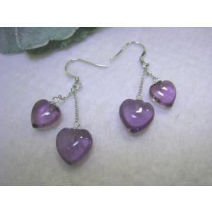 ハート アメジスト ピアス 紫水晶 シルバー925 チェーン ゆらゆら 天然石 パワーストーン |petora