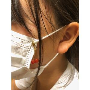 マスク マスクアクセサリー マスクチャーム カーネリアン さくらんぼ 天然石 パワーストーン コロナウィルス予防 花粉予防のマスクに |petora