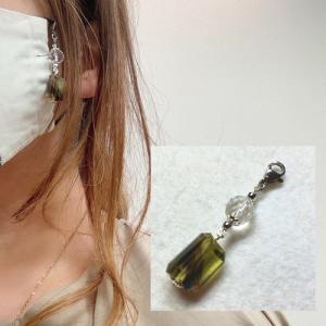 マスク マスクアクセサリー バイカラーレモンクォーツ 水晶 天然石 パワーストーン コロナウィルス予防 花粉予防のマスクに マスクのおしゃれに |petora