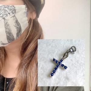 マスク マスクチャーム マスクアクセサリー サファイア クロス 9月の誕生石 天然石 パワーストーン コロナ予防のマスクに マスクのおしゃれに |petora