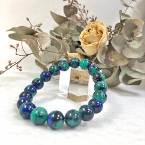 ターコイズ イン ラピスラズリ ブレスレット 天然石 パワーストーン 12月の誕生石 トルコ石 ターコイズとラピスが共生したペルー産のレアな天然石|petora