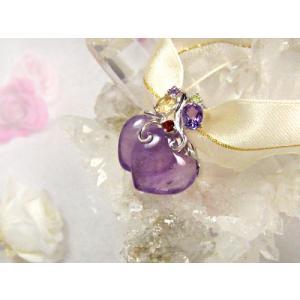 ペンダントトップ(アメジスト) 天然石 パワーストーン 2月誕生石 紫水晶 ダブルハート カット石 ガーネット シトリン ペリドット シルバー petora