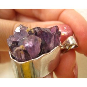 アメジスト 原石 ペンダントトップ クラスター ペンダント Sサイズ 天然石 パワーストーン ウルグアイ産 紫水晶 2月誕生 petora
