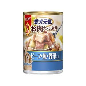 愛犬元気?缶角切りビーフ・魚・野菜入り375g|petslove